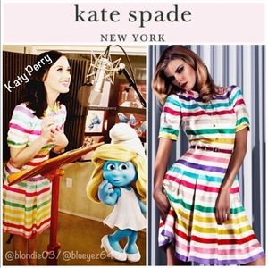 "Kate Spade ""Jeanette"" candy stripe belted dress 6"